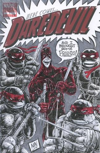 Dare Devil vs. TMNT sketch cover