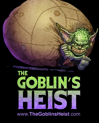 "THE GOBLIN""S HEIST logo design for COMIC BOOK SHOP COLOR"
