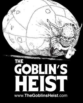 "THE GOBLIN""S HEIST logo design for COMIC BOOK SHOP B&W"