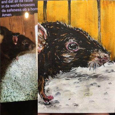 Sketch card of a pet, long deceased.